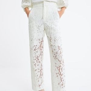 Zara White Lace Pants